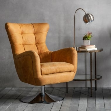 Chester Lounge Chair, Leather Upholstered, Tan and Chrome