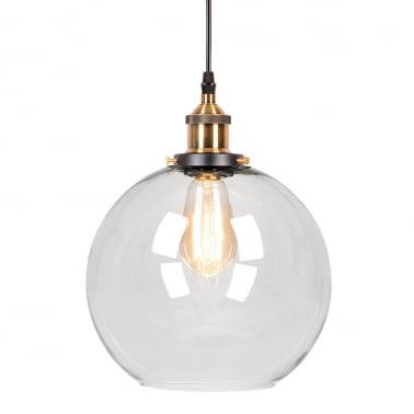 Factory Glass Large Sphere Pendant Light, Antique Gold and Clear