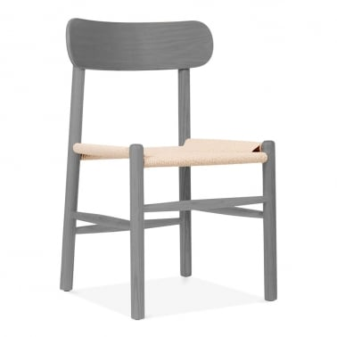 Anders Dining Chair, Beech Wood & Natural Rattan Seat, Grey
