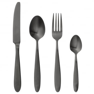 Stainless Steel 4 Piece Cutlery Set, Chromed Black