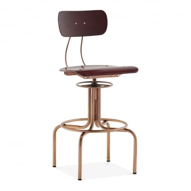 Toledo Style Spyker Swivel Stool, Steel and Plywood, Copper Finish 65-75cm