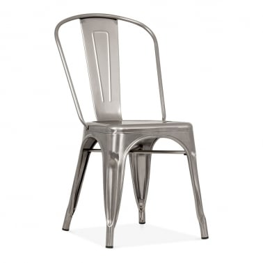 Tolix Style Metal Side Chair - Gunmetal with Weld Spots