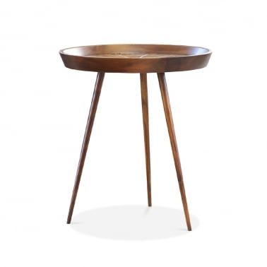 Aspen Round End Table, Solid Acacia, Dark Brown