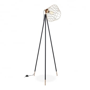 Hamilton Caged Metal Tripod Floor Lamp, Black and Gold