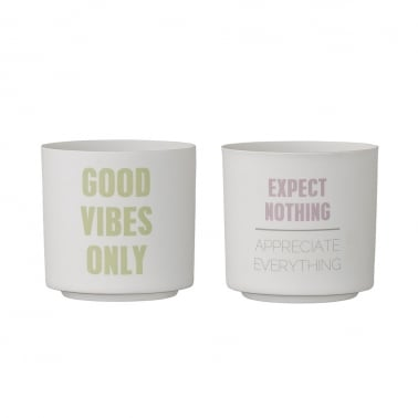 Set of 2 Candle Votive Pots, Good Vibes, White