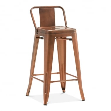 Tolix Style Metal Bar Stool with Low Back Rest - Vintage Copper 65cm