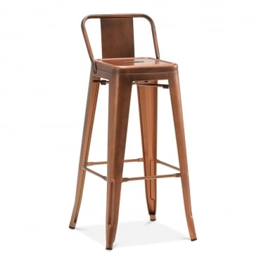 Tolix Style Metal Bar Stool with Low Back Rest - Vintage Copper 75cm