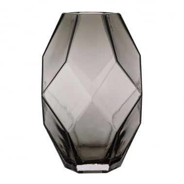 Geometric Glass Vase, Grey