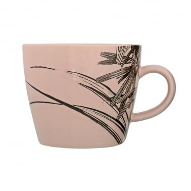 Sooji Palm Print Ceramic Mug, Rose Pink