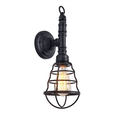 Watson Industrial Cage Metal Wall Light, Black
