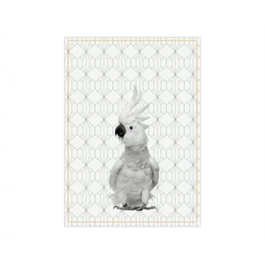 Hexagon Cockatoo Tea Towel - Yellow