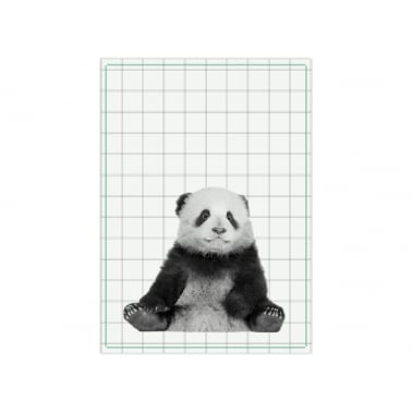 Hexagon Panda Tea Towel - Green