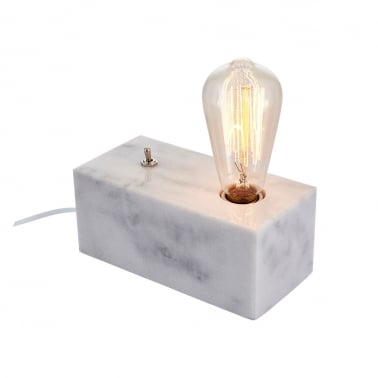 Irving Block Table Lamp, White Marble