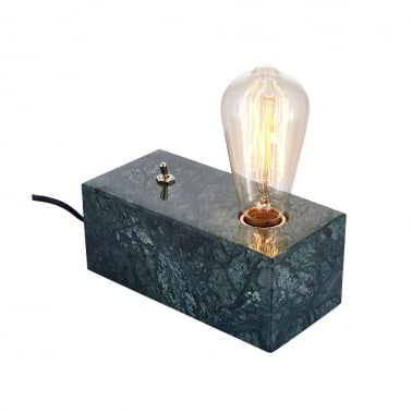 Irving Block Table Lamp, Green Marble