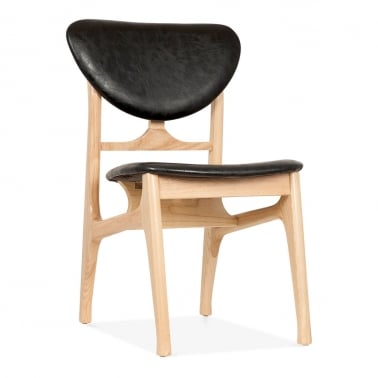 Cabin Retro Dining Chair, Natural Ash Wood, Black Faux Leather