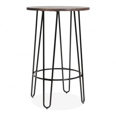 Hairpin High Table With Solid Wood Top - Black