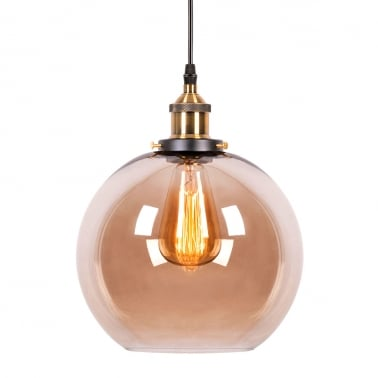 Factory Glass Sphere Pendant Light - Antique Gold / Coffee