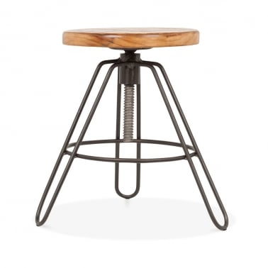Hairpin Clipper Metal Swivel Low Stool, Adjustable Height, Rustic 43-55cm