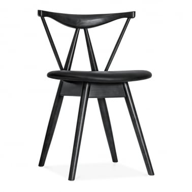 Kite Wooden Dining Chair with Soft Pad PU Seat, Black