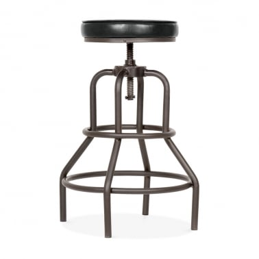 Jet Metal Swivel Bar Stool, Faux Leather Upholstered, Black 62-75cm