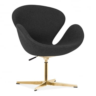 Swan Lounge Chair With Aluminium Leg - Dark Grey / Gold