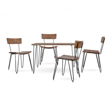 Hairpin Dining Table Set - 1 Table & 4 Chairs - Black 120cm
