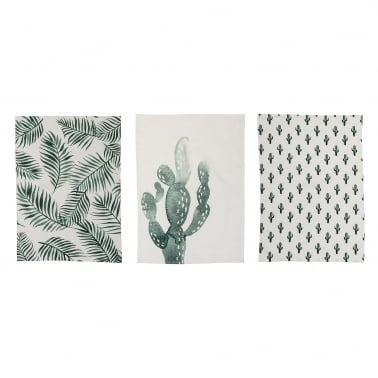 Palm & Cactus Set of 3 Cotton Tea Towels, Green