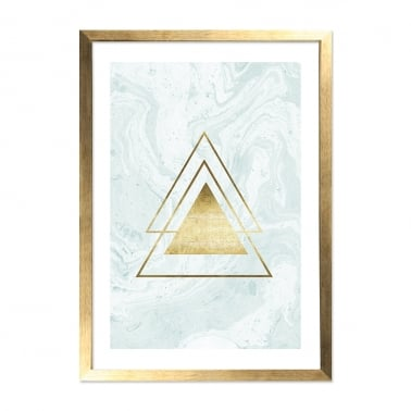 Gold Triangle Print Marble Framed Poster, Light Blue, A2