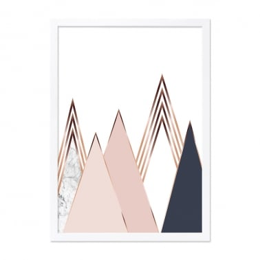 Mountain Print Framed Poster, White and Pink, A2
