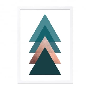 Triangle Print Framed Poster, Teal and Copper, A2