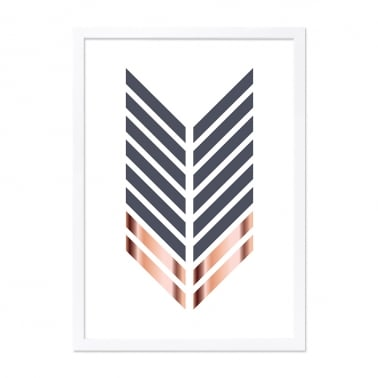 Arrow Print Framed Poster, Grey and Copper, A2