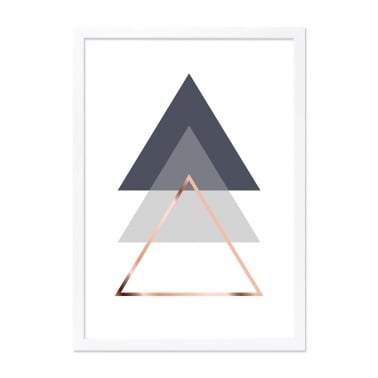 Triangle Print Framed Poster, Grey and Copper, A2