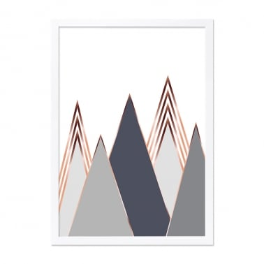 Mountain Print Framed Poster, Grey, A2