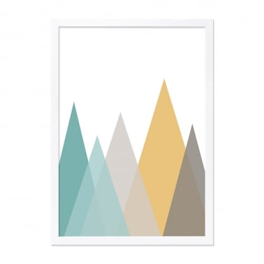 Mountain Abstract Print Framed Poster, Mustard and Green, A2
