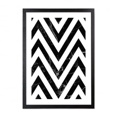 Chevron Marble Print Framed Poster, Black and White, A2