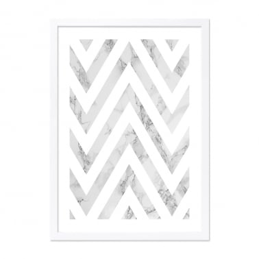 Chevron Marble Print Framed Poster, Grey and White, A2