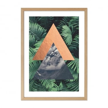 Jungle Triangle Palm Print Framed Poster, Green, A2