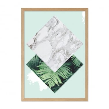 Jungle Diamond Palm Print Framed Poster, Green, A2