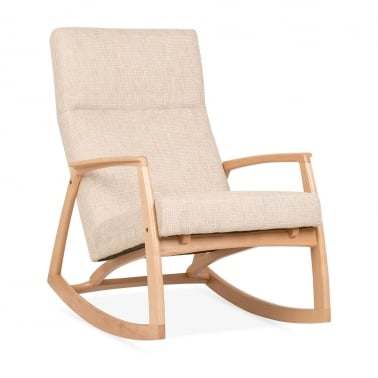 Stanley Ash Wood Rocking Chair, Fabric Upholstered, Cream