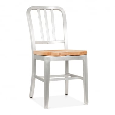 Metal Dining Chair 1006 with Natural Wood Seat - Silver Anodized