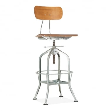 Toledo Style Swivel Bar Stool - Galvanised 64-74cm