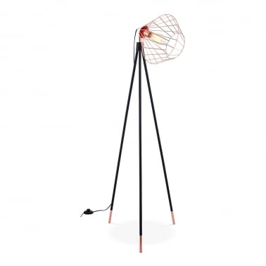 Hamilton Caged Metal Tripod Floor Lamp, Black and Copper
