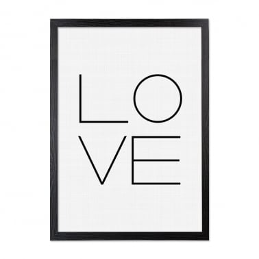 Love Typography Framed Poster, Black & White, A2