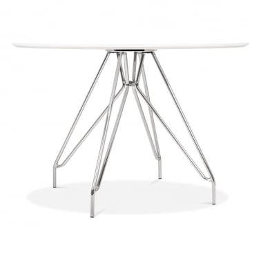 Moda CD1 Round Dining Table, Metal Legs, White 110cm