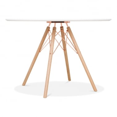 Moda CD3 Round Dining Table, Solid Oak and Metal Legs, White 110cm