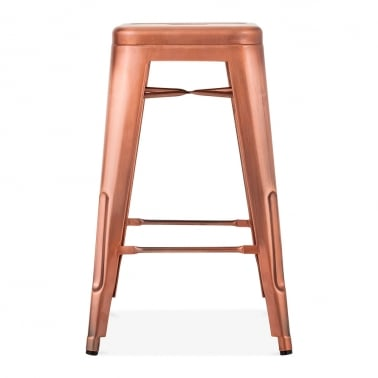 Tolix Style Metal Bar Stool, Copper 65cm