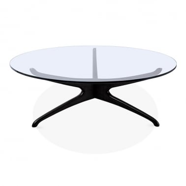 Alberg Round Glass Top Coffee Table, Solid Beech Wood, Black