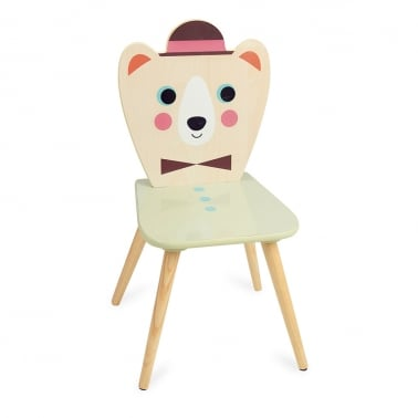 Bozo Bear with Hat Kids Wooden Chair, Natural and Green