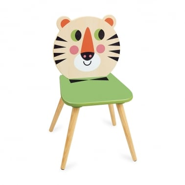 Timmy Tiger Kids Wooden Chair, Natural and Green
