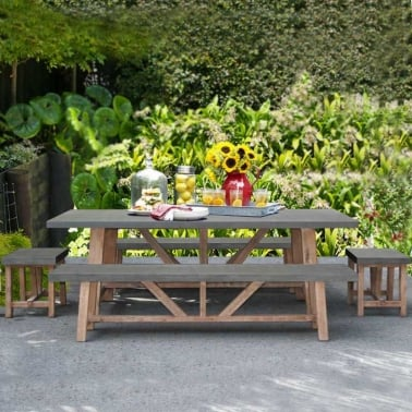 Pembroke 5 Piece Outdoor Dining Set, Solid Wood and Concrete